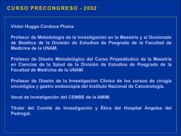 Curso precongreso metodología - Dr. Víctor Huggo Córdova Pluma
