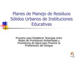Planes de Manejo de Residuos Sólidos Urbanos de Instituciones
