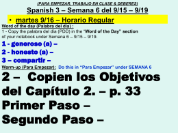 Span.3 WARMUPS CLASSWORK HOMEWORK sept.16