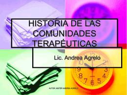 HISTORIA DE LAS COMUNIDADES TERAPÉUTICAS