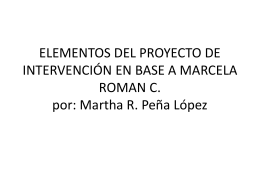 ELEMENTOS DEL PROYECTO DE INTERVENCIÓN