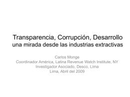 Transparencia, Corrupción, Desarrollo una