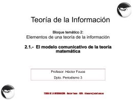 TEMA 1.- El modelo comunicativo de la teoría matemática