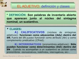 EL ADJETIVO: definición y clases