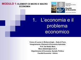 Le Scienze Economiche Attività economica e natura del problema