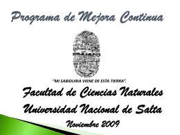 Presentación Universidad Nacional de Salta 2