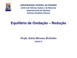 Equilíbrio de Oxidação-Redução - Departamento de Química
