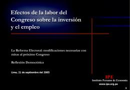 Efectos de la labor del Congreso sobre la inversión y el empleo
