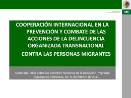 Cooperación internacional en la prevención y combate de las