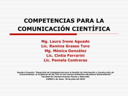 COMPETENCIAS PARA LA COMUNICACIÓN CIENTÍFICA