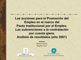 Las acciones para la Promoción del Empleo en el marco del Pacto
