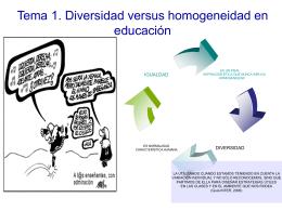 Tema 1. Diversidad versus homogeneidad en educación