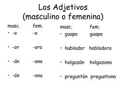 Los Adjetivos (masculino o femenina)
