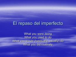 El repaso del imperfecto