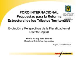 Presentación Dirección Distrital de Impuestos, Foro Internacional 1