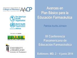 Avances en Plan Básico para la Educación Farmacéutica Patricia
