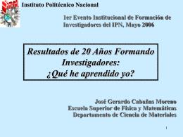 Ponencia Jose Cabañas - Instituto Politécnico Nacional
