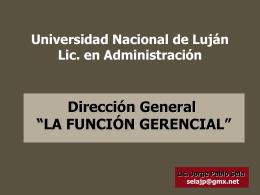 LA FUNCIÓN GERENCIAL - Universidad Nacional de Luján