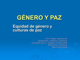 GÉNERO, FEMINISMO Y PAZ
