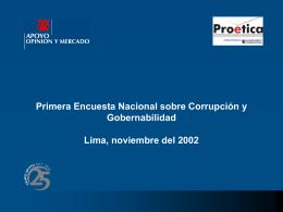 Primera Encuesta Nacional sobre Corrupción y Gobernabilidad