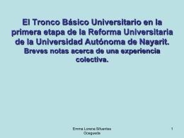 El Tronco Básico Universitario en la primera etapa de la Reforma