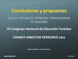 II CONCLUSIONES EFICIENCIAS TyT 2012