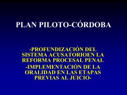 Plan Piloto para Casos de Flagrancia y Cuasiflagrancia.