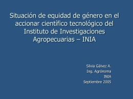 INIA - CONICYT > Programa Género > Mujer y Ciencia en Chile