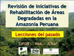 Revisión de iniciativas de Rehabilitación de Áreas Degradadas