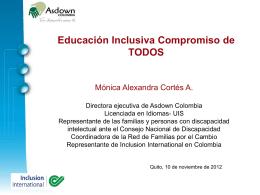 Mónica Cortes, Asdown Colombia