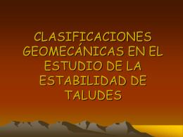 clasificaciones geomecánicas en el estudio de la