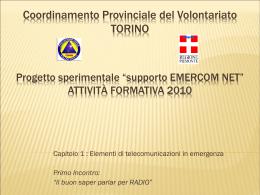 elementi di TLC in emergenza - Coordinamento Provinciale di Torino