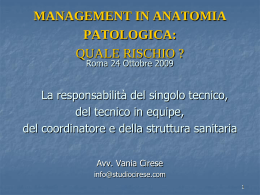 management in anatomia patologica: quale rischio