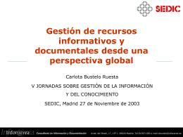 Gestión de recursos informativos y documentales desde una