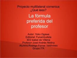 LA FORMULA PREFERIDA DEL PROFESOR Rodrigo