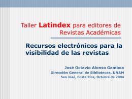 Taller Latindex para editores de Revistas Académicas