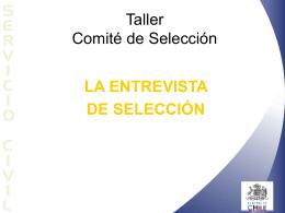 TALLER PARA COMITÉ DE SELECCIÓN