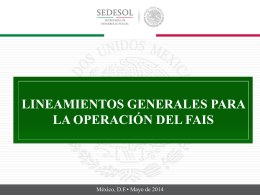 Lineamientos Generales para la Operación del FAIS
