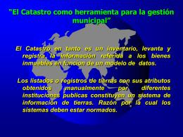 El Catastro como herramienta para la gestión municipal