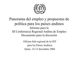 Panorama del empleo y propuestas de política para los países