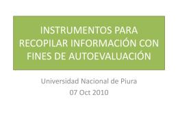 instrumentos para recopilar información con fines de autoevaluación