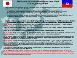 Resumen de las asistencias del Gobierno de Japón para Haití