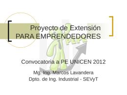 Proyecto de Extensión PARA EMPRENDEDORES
