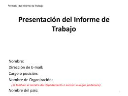 Presentación del Informe de Trabajo