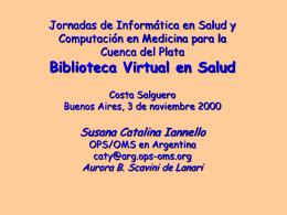 Susana Catalina Iannello - Biblioteca virtual de salud de Argentina