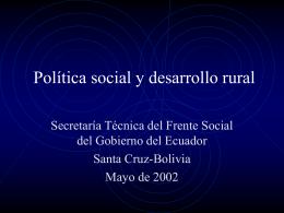 Política social y desarrollo rural