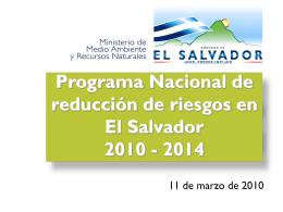 Presentación del Programa Nacional de Reducción de Riesgos en