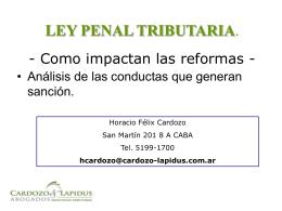 SPAISS 2012-06-27 Nueva ley penal tributaria Horacio F Cardozo