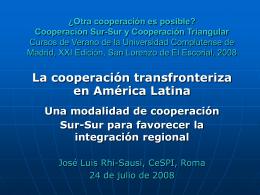 ¿Otra cooperación es posible? Cooperación Sur-Sur y