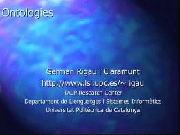 Ontologies - Departament de Llenguatges i Sistemes Informàtics